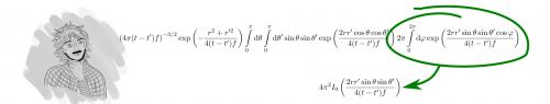 Zum Nachschlagen eines Integrals ist es sinnvoll, mehrere Konstanten zu einer zusammenzufassen und danach wieder einzusetzen. Was muss man hier für A aus der Lösung von wolfram|alpha einsetzen? (selbstgemacht)