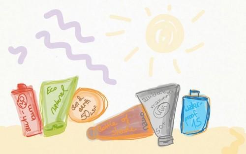 Die Sonnencremes auf dem Bild gibt es natürlich nicht. Sie sind, wie alle Bilder in diesem Artikel, von mir skizziert.