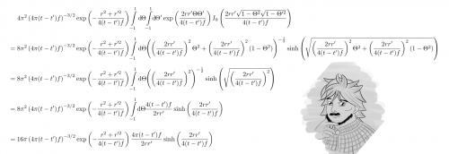 Versuche selbst, die Variablen a und b aus Gradshteyns Formel zu identifizieren. Es ist verblüffend, wie sich die Terme gegenseitig eliminieren, so dass keine Abhängigkeit von Theta mehr übrig bleibt. (selbstgemacht)