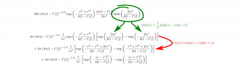Natürlich kann man die Regel mit den Produkten von Exponentialfunktionen auch rückwärts anwenden. Der letzte Schritt ist dann einfach - erinnerst du dich noch an die binomischen Formeln? (selbstgemacht)