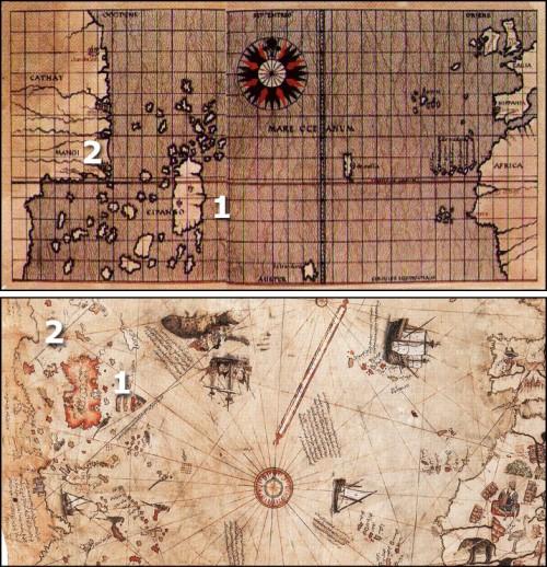 """Oben die Toscanelli-Karte; unten dieselbe Region auf der Piri-Reis-Karte. [1] Cipango (Japan) wurde nur ein wenig """"umgezeichnet"""" (Kahle) zu Hispaniola. [2] Kuba ist als eine Landspitze Chinas dargestellt."""