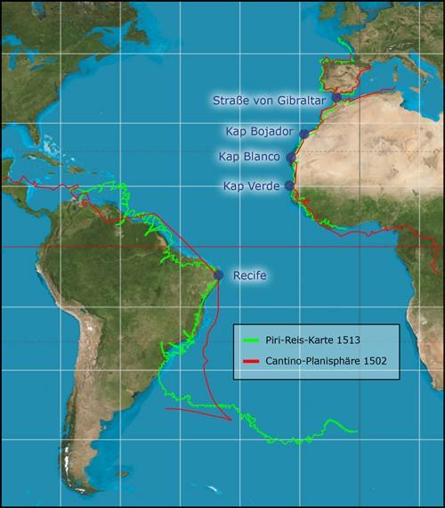 Vergleich der Piri-Reis-Karte mit einer modernen Karte und der Cantino-Karte von 1502. Letztere gibt den portugiesischen Wissenstand jener Zeit wieder. Ausgerichtet habe ich alle drei an der Straße von Gibraltar sowie den drei Afrikanischen Kaps. Die Ostspitze Südamerikas fällt bei allen auf exakt den gleichen Punkt.