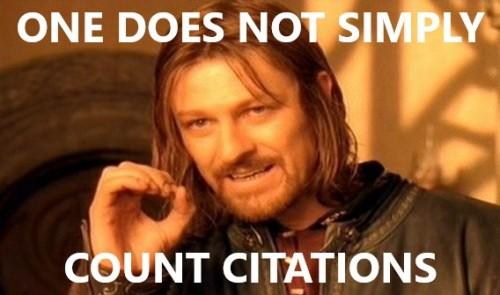 Ein Meme, das die Sinnhaftigkeit vom Gleichsetzen von Zitations-Rate mit wissenschaftlicher Exzellenz hinterfragt. Urheber: mein PhD-Kollege Max Leckert