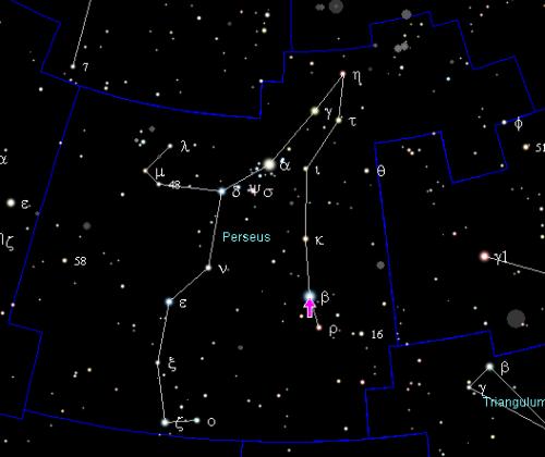 Algol im Sternbild Perseus (Bild: Zwergelstern, gemeinfrei)