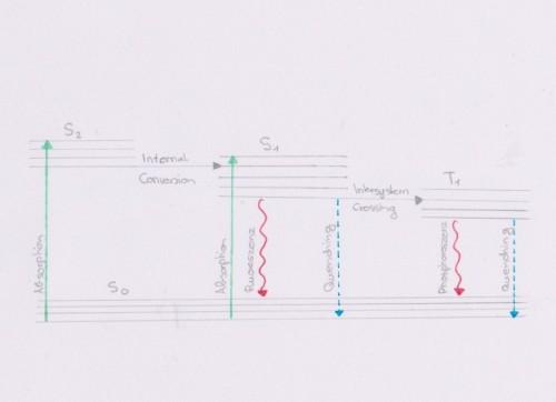 Dieses Jablonski Diagramm habe ich an den Text angepasst selber gezeichnet