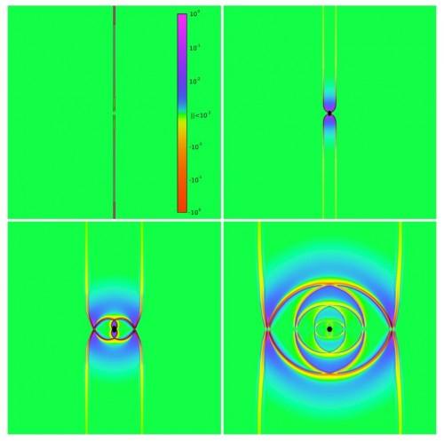 Computersimulation kollidierender Gravitationswellen. Schön bunt und die Erde geht so schnell nicht dadurch kaputt! (Bild: Pretorius & East, 2018)