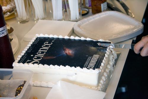 Ein Höhepunkt meiner Doktorprüfung war die anschliessende Torte mit dem aufgedruckten Science Titelblatt. Bild: Alexander Alig.