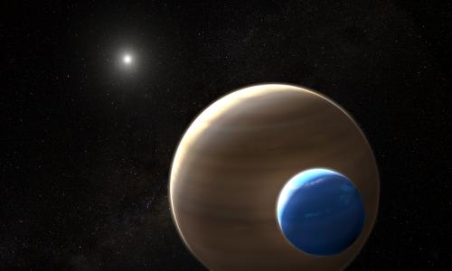 Künstlerische Darstellung des Exomonds und seines Planeten: NASA/ESA/L. Hustak