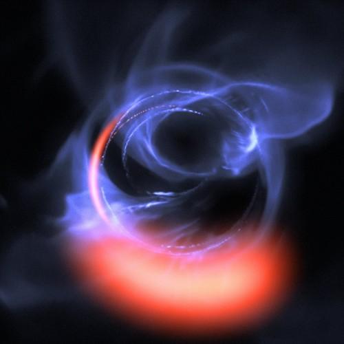 Eine COMPUTERSIMULATION (!!!) der Bewegung von Material in der Nähe eines schwarzen Lochs (Bild: ESO/Gravity Consortium/L. Calçada)