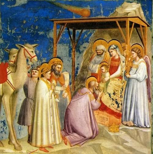 """""""Die Anbetung der Könige"""" von Giotto di Bodone - und oben drüber fliegt (nicht) der Stern von Bethlehem)"""