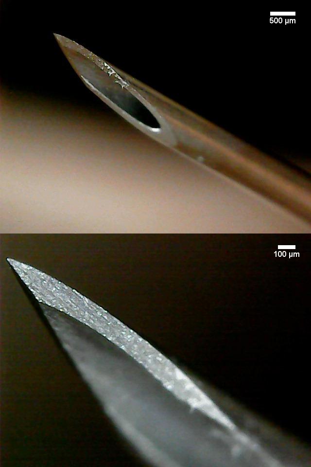 Spitze einer Kanüle mit 0,8 mm Durchmesser (21Gx2'').