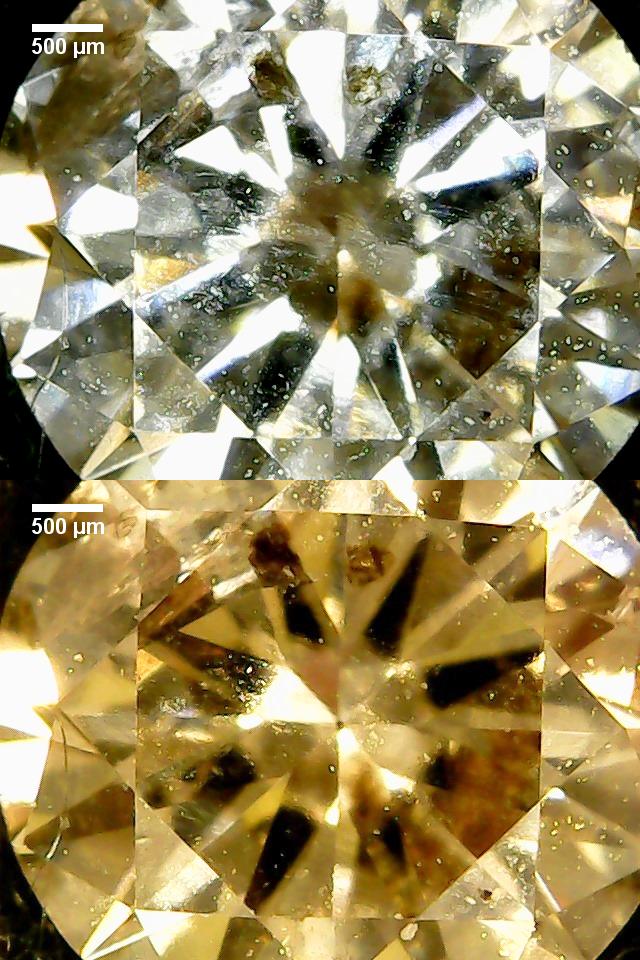 Sicht von oben auf die flache Seite des Diamanten mit Brilliantschliff.