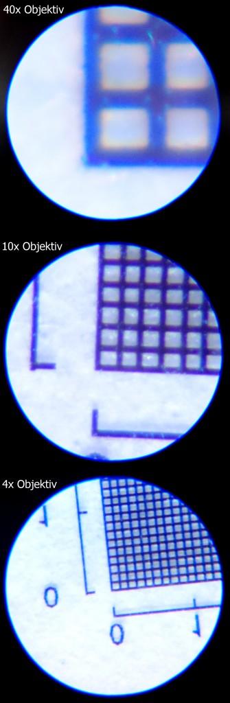 Gitterbilder durch das KOSMOS Mikroskop