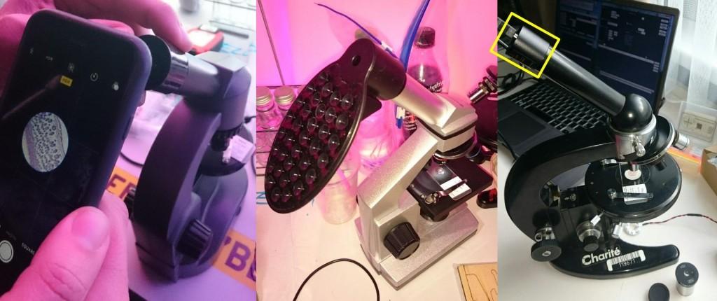 links: mit dem Smartphone Bilder machen; mitte: Aufsatz für Smartphone; rechts: Okularkamera. Klick für vollständige Größe.