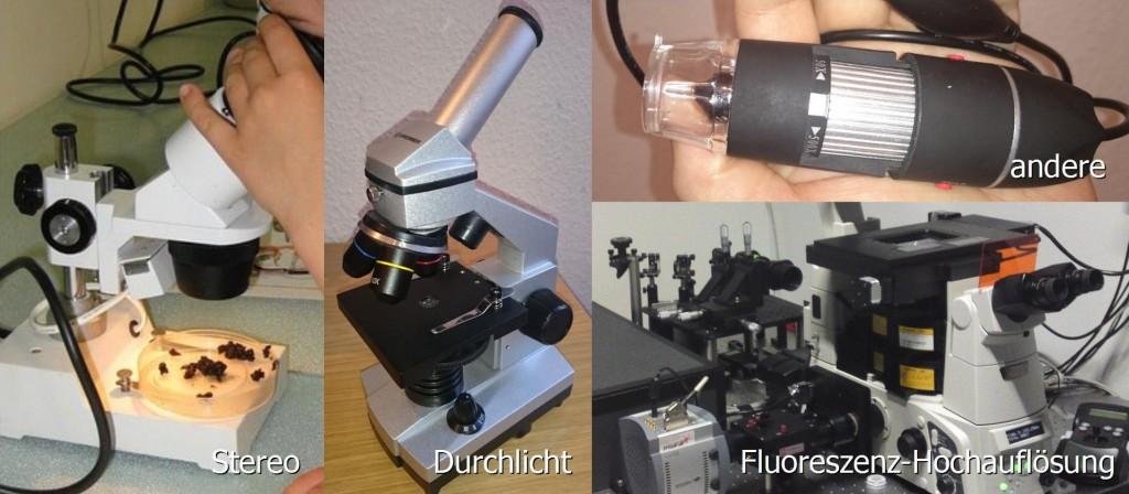 Verschiedene Mikroskop-Typen