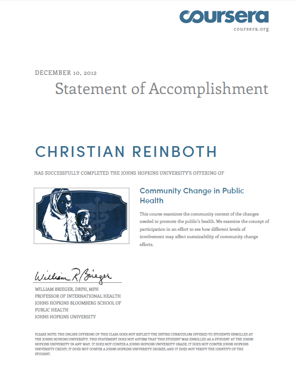 Coursera Certificate Community Change in Public Health