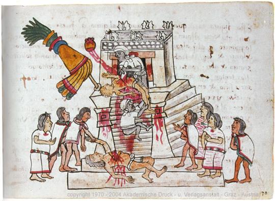 Rituelles Menschenopfer der Azteken, dargestellt auf Seite 141 (folio 70r) des Codex Magliabechiano, via Wikimedia Commons