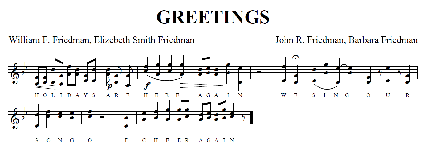 Friedman-Song-Sheet