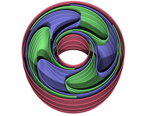 Reeb_foliation_half-torus_POV-Ray
