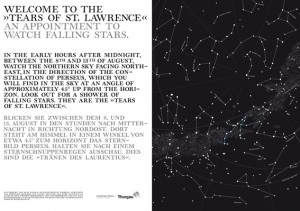 Welcome to the Tears of St. Lawrence. An Appointment to Watch Falling Stars