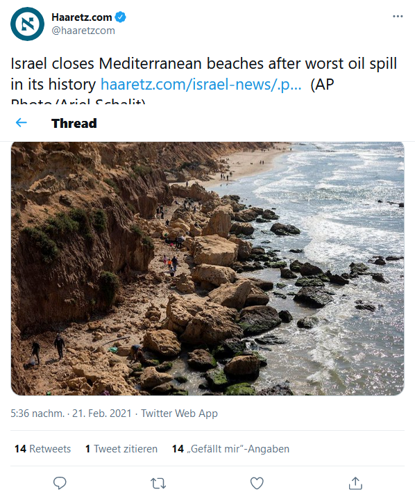 Israel closes Mediterranean beaches after worst oil spill in its history