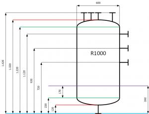 Skizze des R1000 mit wichtigen Maßen