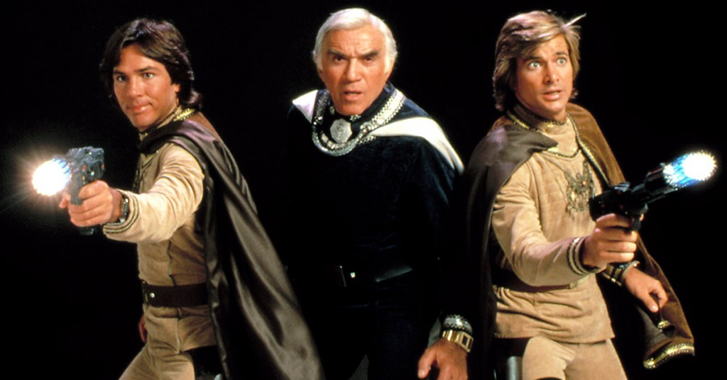 BATTLESTAR GALACTICA, Richard Hatch, Lorne Greene, Dirk Benedict, 1978 - 1979. (c) Universal Television/ Courtesy: Everett Collection.