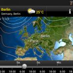Luftdruckverteilung am Samstag, 20.04.13 - Wichtig ist das England-Hoch (Rot) und das (am Boden schwache) Tief über dem Mittelmeer (helles Rot bis Weiß)