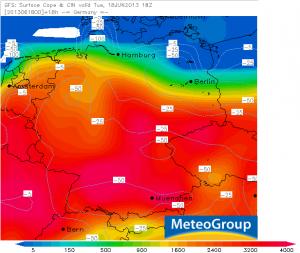 CAPE und CIN (J/kg), GFS Prognose für den 18.06.2013, 20 Uhr MESZ