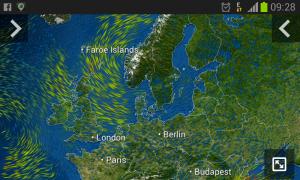Windströmung aktuell mit Hoch KARIN über Skandinavien (MeteoEarth App Screenshot)