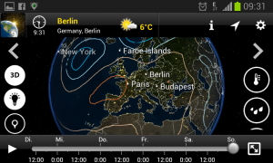 Luftdruck am Sonntag (MeteoEarth Screenshot)