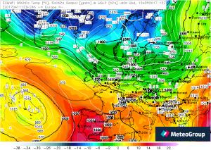 Temperatur Europa 850 hPa 12.04.17 12 UTC